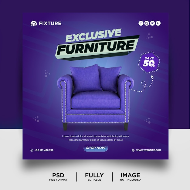 Purple color furniture product social media post banner template