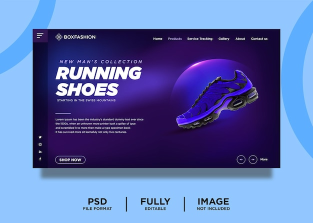 Purple color running shoes product landing page template