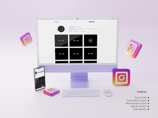 Фиолетовый экран компьютера и макет экрана смартфона с редактируемым профилем instagram psd