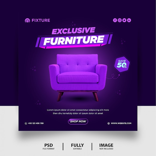 Purple exclusive furniture sale social media post template