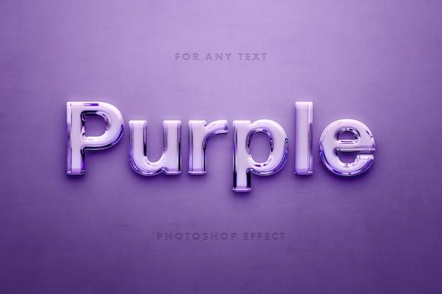 紫色のガラスの3dテキスト効果