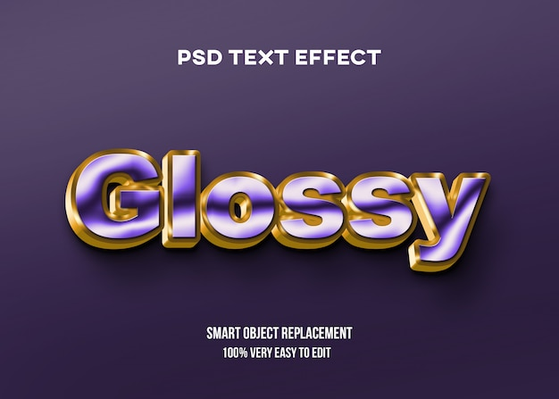 Purple and gold glossy text effect