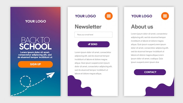 Purple gradient template app back to school