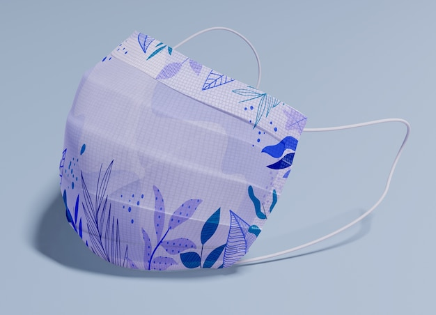 Purple mask with leaves pattern