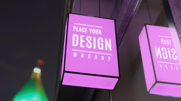 Purple night business sign mock-up