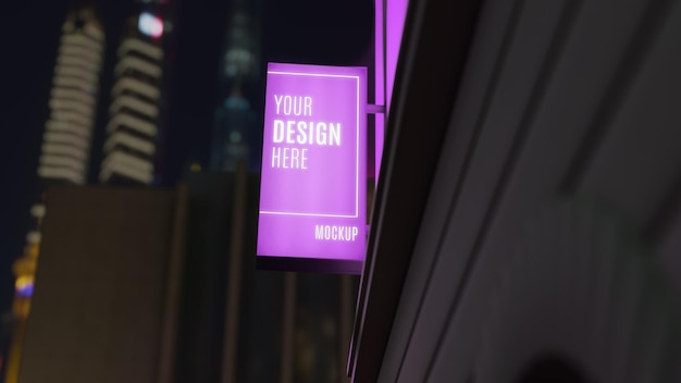 Purple night business sign