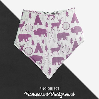 Purple patterned bandana for baby or children's on transparent background