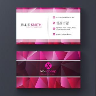 Шаблон визитной карточки фиолетовый поли
