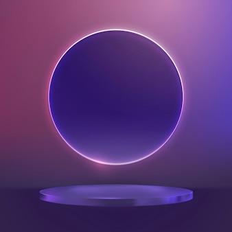 Фиолетовый подиум для демонстрации продуктов с розовым неоновым кольцом в современном стиле
