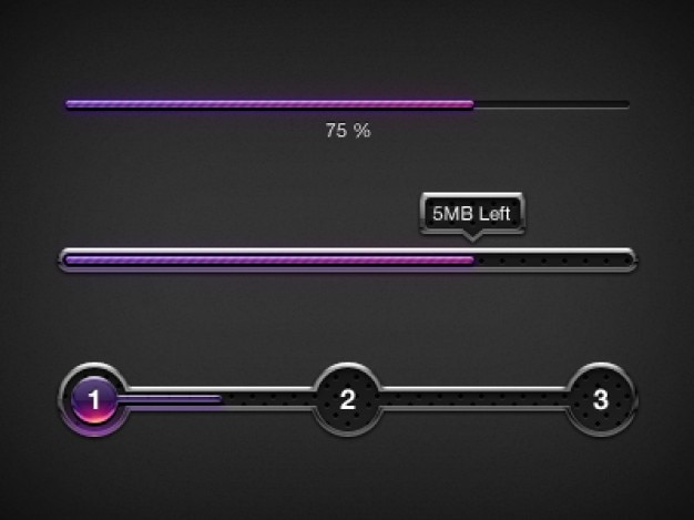 Purple progress bars ui elements