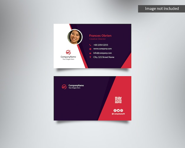 Purple & red business card with photo id