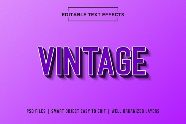 Purple retro premium text effects