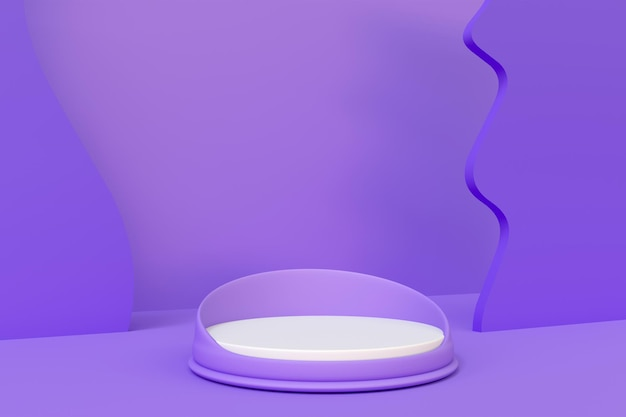 Purple room with podium for product  placement 3d render