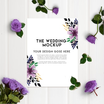 Purple rose wedding invitation card mockup