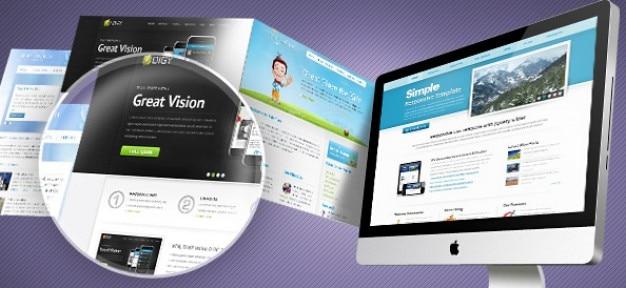 紫色のウェブのモックアップのpsdテンプレート