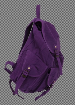 Purple woman back pack bag isolated empty on white background, beautiful fashion backpack for teenager