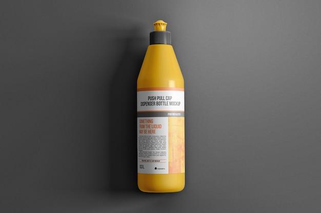 푸시 풀 캡 디스펜서 병은 표면 상단보기 모형에 놓여 있습니다.