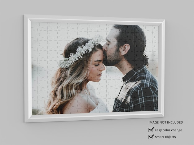Puzzle photo frames mockup design