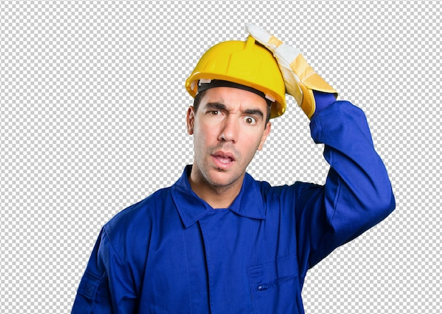 Puzzled worker on white background