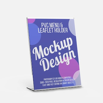 Pvc menu and leaflet holder mockup