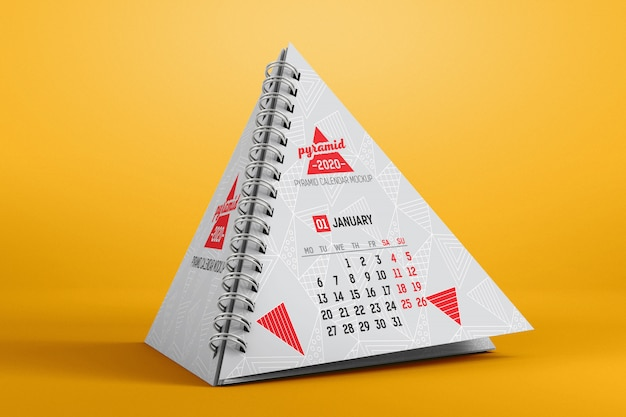 Pyramid calendar mockup Premium Psd