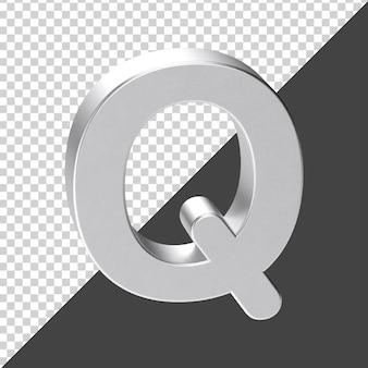 3d 렌더링에서 실버로 만든 q 편지 3d 현실적인 편지 q