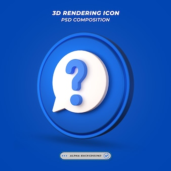 Question mark icon in 3d rendering