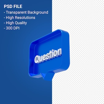 Question mark notification 3d icon isolated