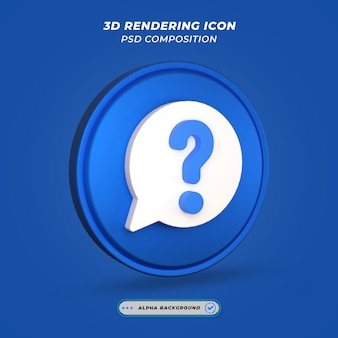 Question mark symbol icon in 3d rendering