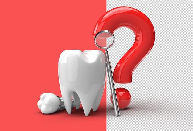 치과 임플란트 수술 개념 3d 렌더링 투명 psd 파일 물음표