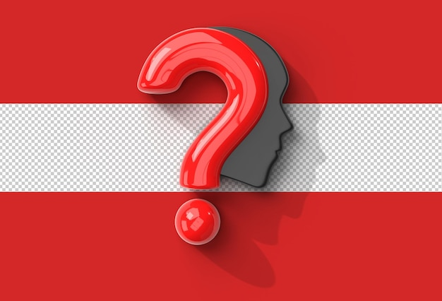 Question mark with human face transparent psd file.