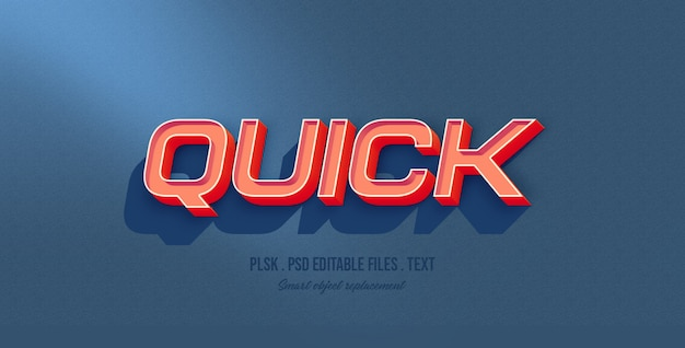 Quick 3d text style effect mockup