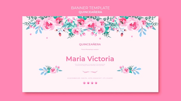 Quinceañera colorful banner template