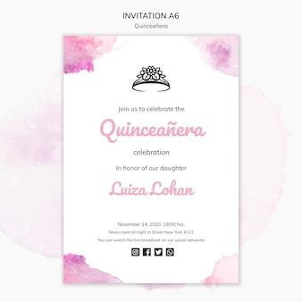 Шаблон приглашения на вечеринку quinceanera