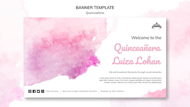 Quinceanera party template banner