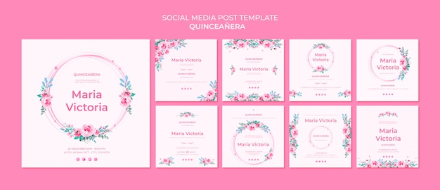Quinceañera social media post template