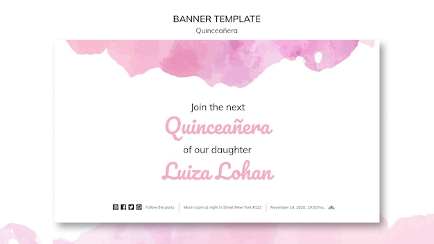 Quinceanera template party banner