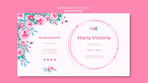 Шаблон красочный баннер quinceañera