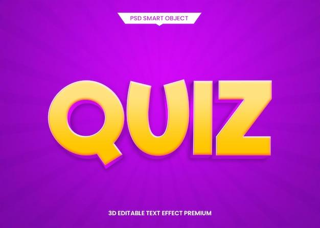 Викторина фиолетовый 3d редактируемый текстовый эффект