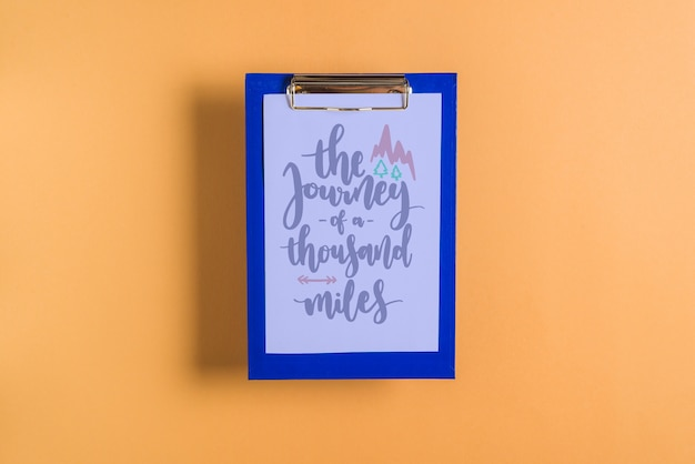 Quote or paper mockup on clipboard
