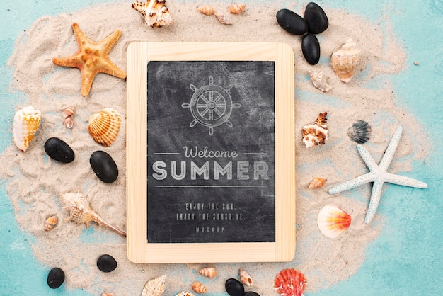 Quote with nautical summer on chalkboard