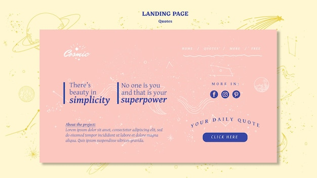 Quotes concept landing page template