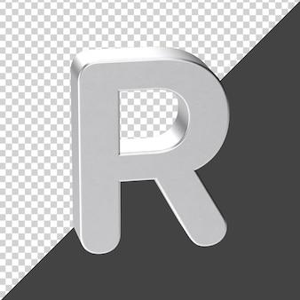 3d 렌더링에서 실버로 만든 r 편지 3d 현실적인 편지 r