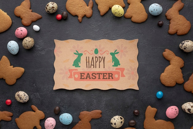 ウサギのクッキーはモックアップを形作る