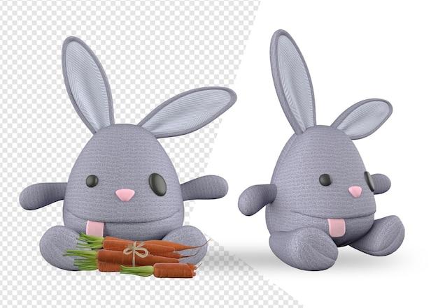 レンダリングデザインのウサギのおもちゃのモックアップ