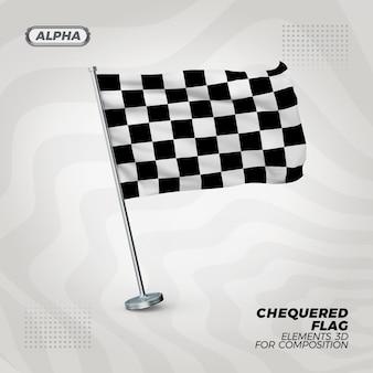 レースチェッカーリアルな3dテクスチャフラグ