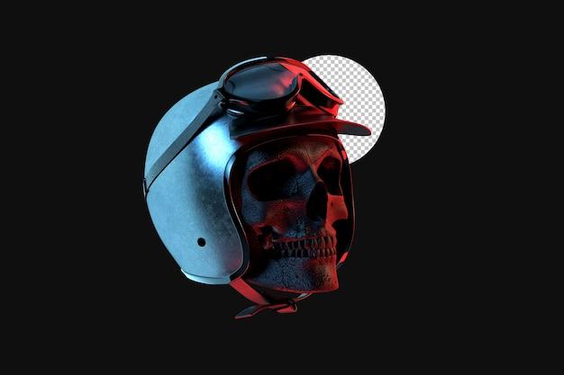 고글과 빈티지 헬멧에 레이서 해골입니다. 3d 렌더링