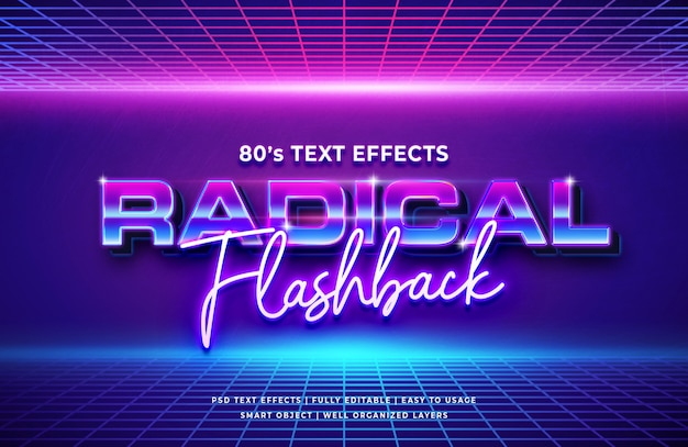 Radical flashback 80's retro text effect