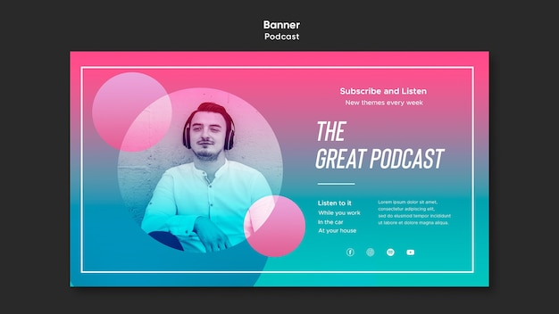 Radio podcast banner template