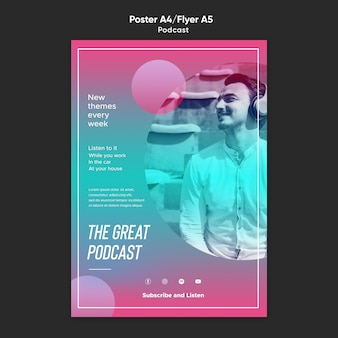 Radio podcast flyer template